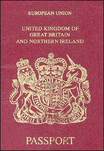 cover page of an UK passport